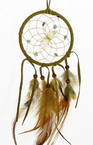 "Vision Seeker Dream Catcher 3"" Tan with Green Aventurine"