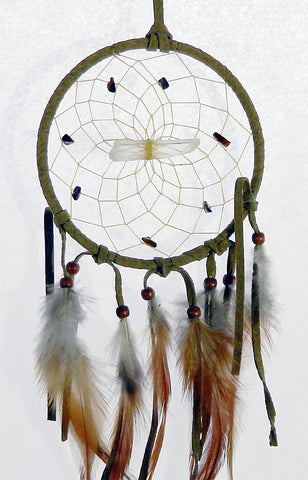 "Vision Seeker Dream Catcher 4"" Tan with Tiger's Eye"
