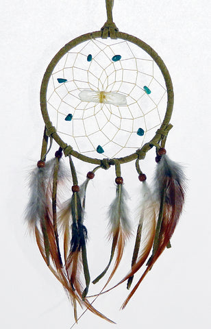 "Vision Seeker Dream Catcher 4"" Tan with Turquoise"