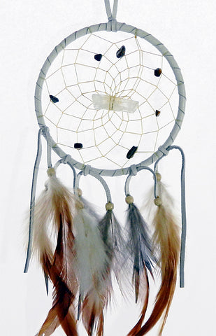 "Vision Seeker Dream Catcher 4"" White with Tiger's Eye"