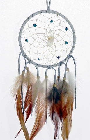 "Vision Seeker Dream Catcher 4"" White with Turquoise"