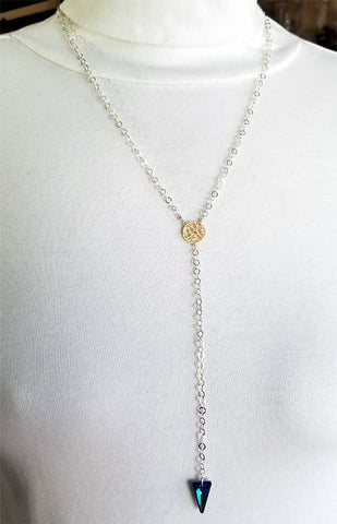 Whitelotus Designs - Sterling Silver, 14K Gold Vermeil Tree & Swarovski Crystal Necklace