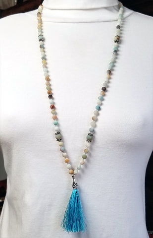 108 Bead Mala Necklace - 5mm Amazonite Beads with Sterling Silver (Turquoise Tassel)