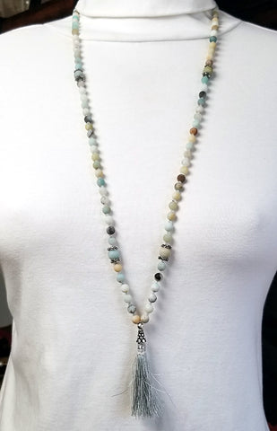 108 Bead Mala Necklace - 5mm Amazonite Beads with Sterling Silver (Silver Tassel)