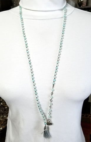 108 Bead Mala Necklace - 5mm Aquamarine Beads with Sterling Silver