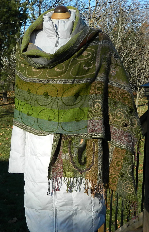 Boiled Wool Embroidered Wrap - Multi Green