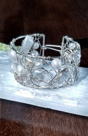 Whitelotus Designs - Wire Woven Cuff Bracelet with Pearls