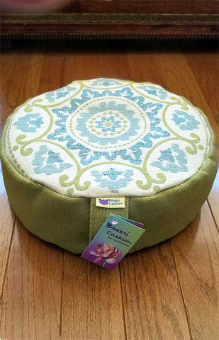 Bhakti Meditation Cushion Green & Blue Mandala
