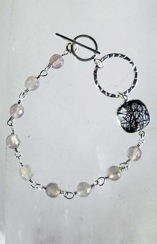 Whitelotus Designs - Sterling Silver Tourmalinated Quartz & Gemstone Bracelet