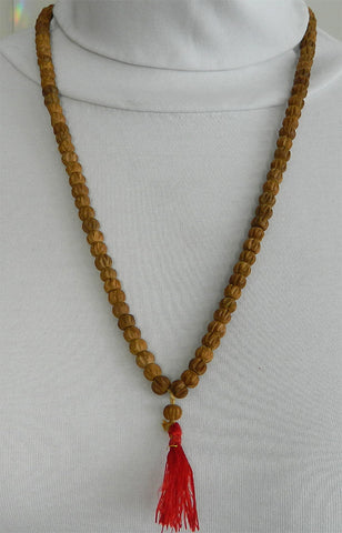 108 Bead Mala Necklace - 8mm Carved Sandalwood Beads