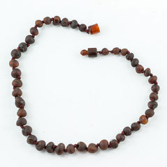100% Certified Baltic Amber Baby Necklace Matte Cherry