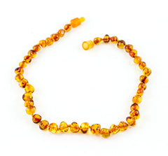 100% Certified Baltic Amber Baby Necklace Polished Cognac
