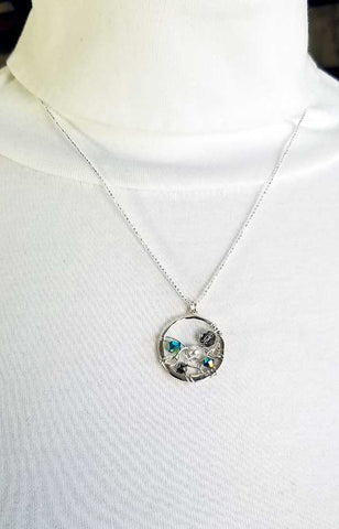 Whitelotus Designs - Round Web Pendant with Swarovski Crystals & Pearls