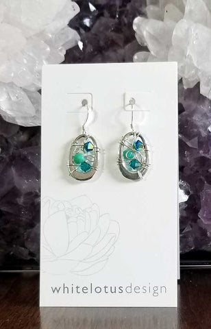 Whitelotus Designs - Oval Web Earrings with Crystals (Aqua & Lime)