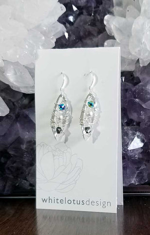 Whitelotus Designs - Wavy Wire Woven Earrings with Gemstones & Pearls (Aqua & Turqoise)