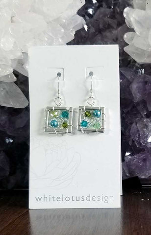 Whitelotus Designs - Square Web Earrings with Crystals (Aqua & Lime)