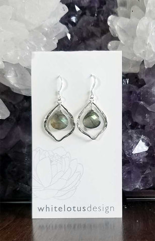Whitelotus Designs - Wire Wrapped Briolette Earrings (Labradorite)