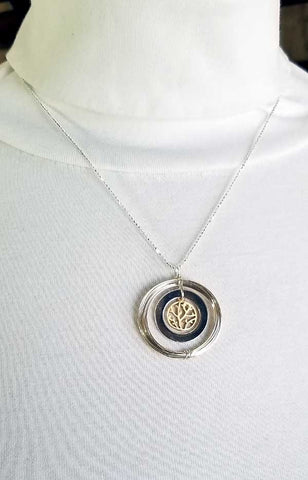 Whitelotus Designs - Round Pendant with 14K Gold Vermeil Branch