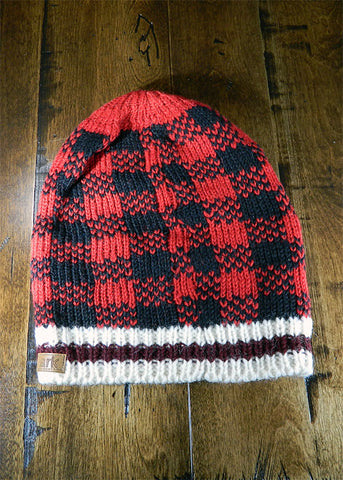 Hat - Red Check Slouch Toque