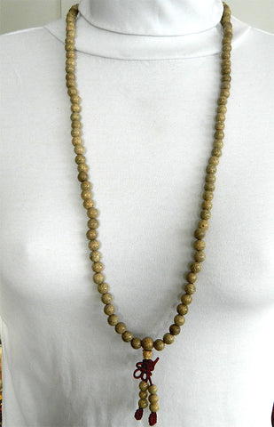108 Bead Mala Necklace - Lotus Seed on Stretch Cord