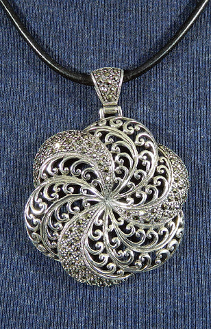 Sterling Silver Marcasite Pendant 01
