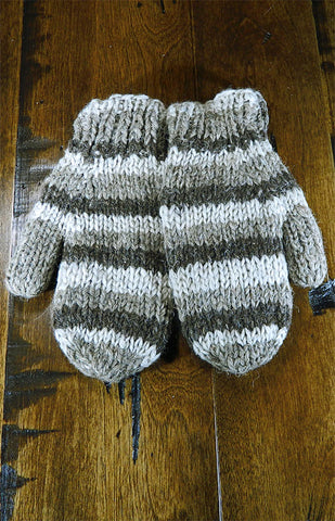 Mittens - Kids Brown Stripe Mitts