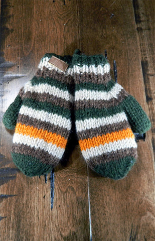 Mittens - Kids Green & Orange Stripe Mitts