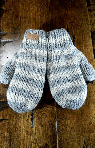 Mittens - Kids Grey Stripe Mitts