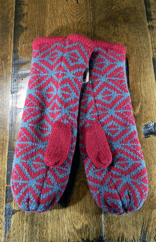 Mittens - Maroon & Grey Geometric Mitts
