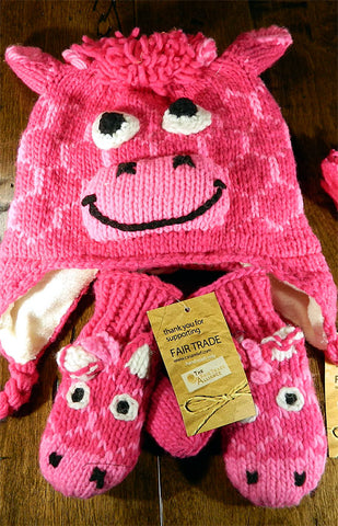 Hat & Mitts - Kids Pink Giraffe Hat & Mitt Set