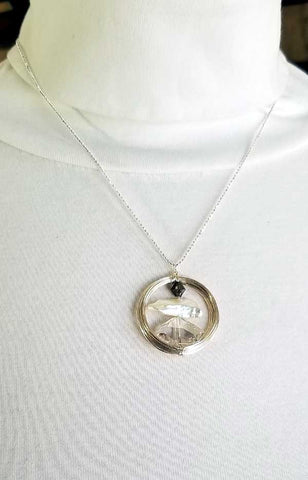 Whitelotus Designs - Round Pendant with Swarovski Crystals & Pearl