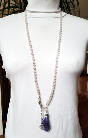 108 Bead Mala Necklace - 5mm Rose Quartz Beads with Sterling Silver