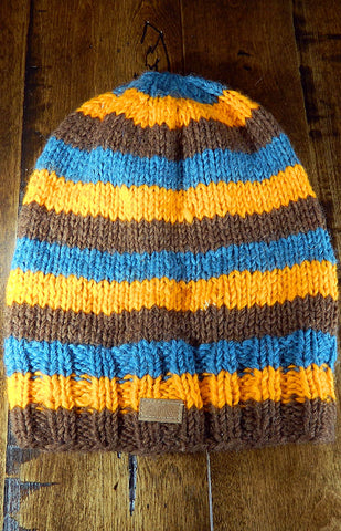 Hat - Blue, Orange & Brown Slouch Toque