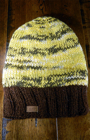 Hat - Yellow & Brown Slouch Toque