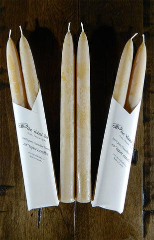 100% Pure Beeswax Tapers - 10""