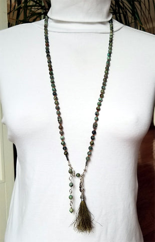 108 Bead Mala Necklace - 5mm African Turquoise Beads with Sterling Silver