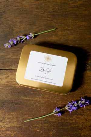 Delight Handcrafted Incense Cones with Lavender + Tea Flowers