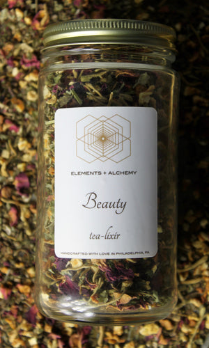 Beauty Herbal Tea-lixir with Lemon Balm + Rose Petals