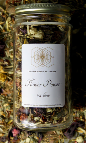 Flower Power Herbal Tea-Lixir with Rose Hips + Red Clover Blossoms