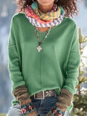 Womens Fall Clothing Green Knitted Simple Shirts & Tops