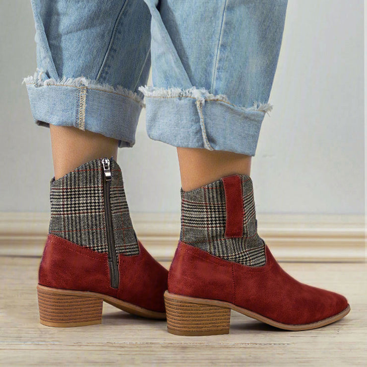 Chunky Heel Casual Autumn/Winter Zipper Ankle Booties