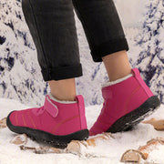 Womens Padded Warm Snow Boots Magic Tape Flat Heel Winter Boots