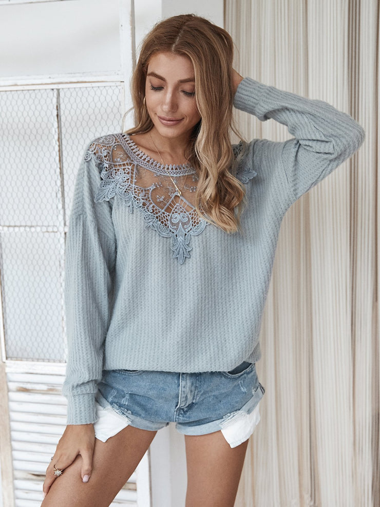Plain Lace Casual Sweater