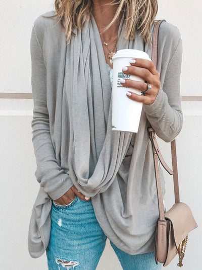 Spring/Fall Cowl Neck Asymmetrical Solid Casual T-Shirts