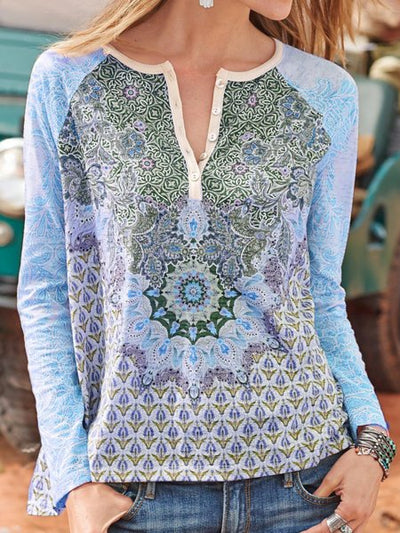 Buttoned Printed Casual Shirts & Tops