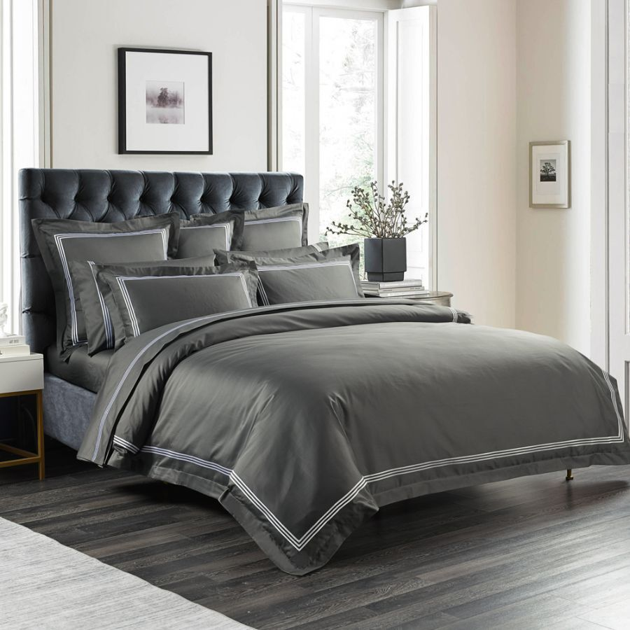 1000TC Charcoal Quilt Cover Set (Hoteluxe)