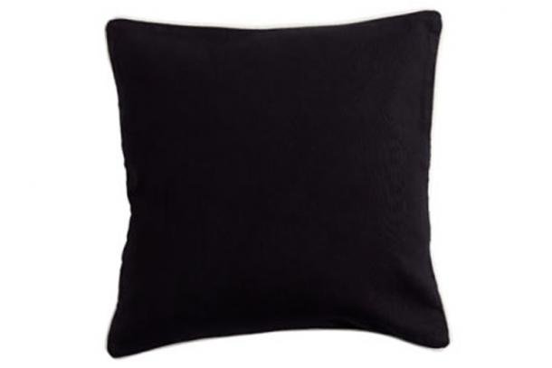 Basic Black Square Cushion With White Piping (Paloma Living)
