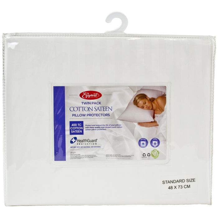Cotton Sateen Twin Pack Pillow Protector