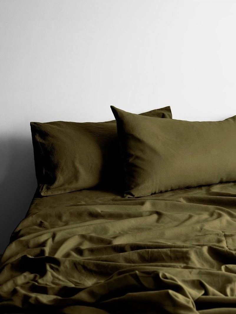 Maison Vintage Khaki Sheet Set