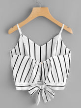 Load image into Gallery viewer, Striped Split Tie Back Crop Cami Top